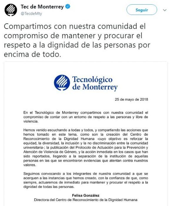 comunicado del Tec de Monterrey