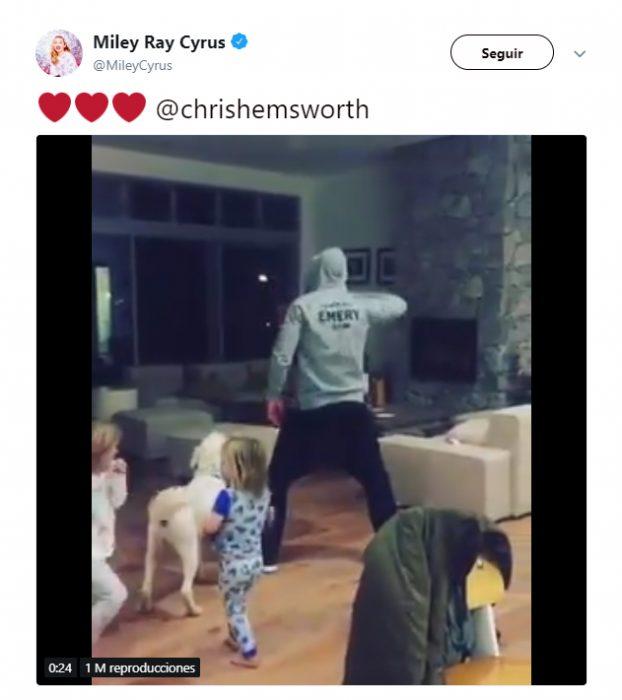 Comentario en Twitter de Miley Cyrus sobre el video de Chris hemswort bailando