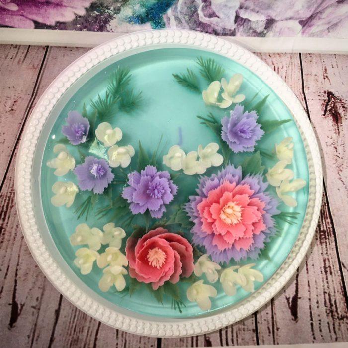 gelatina de color aguamarina