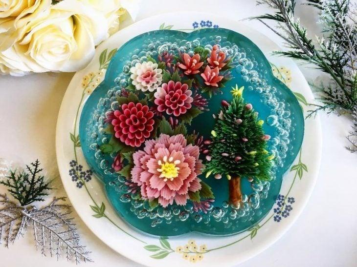 gelatina en forma de flor azul