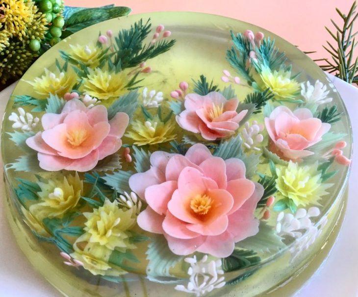 gelatina co flores dentro