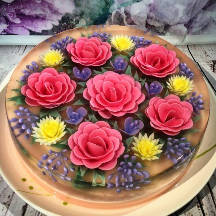 flores en color lila dentro de una gelatina