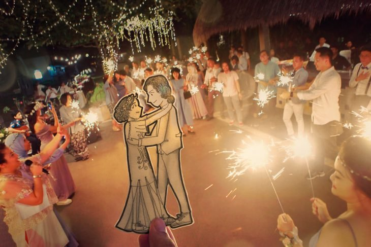 dibujo de novios en su boda