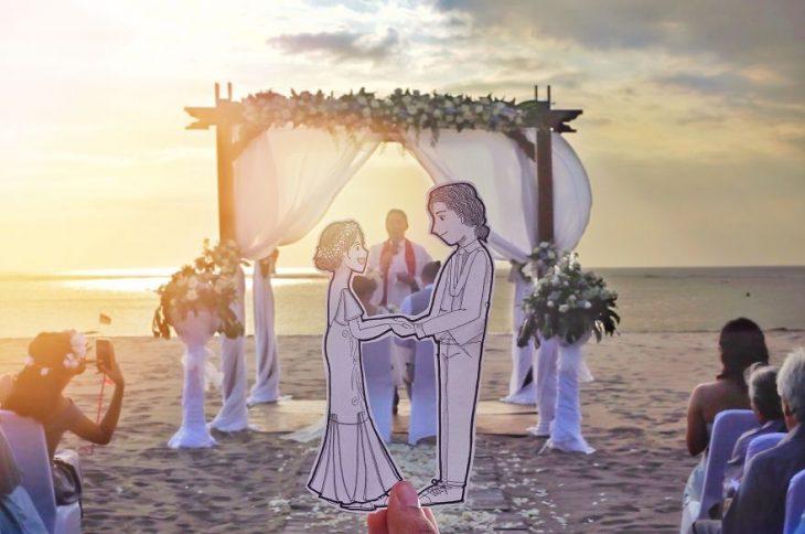 dibujo de novios frente al altar