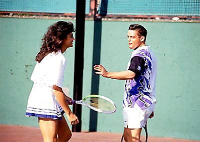 Gabriela Sabatini y luis miguel jugando tenis