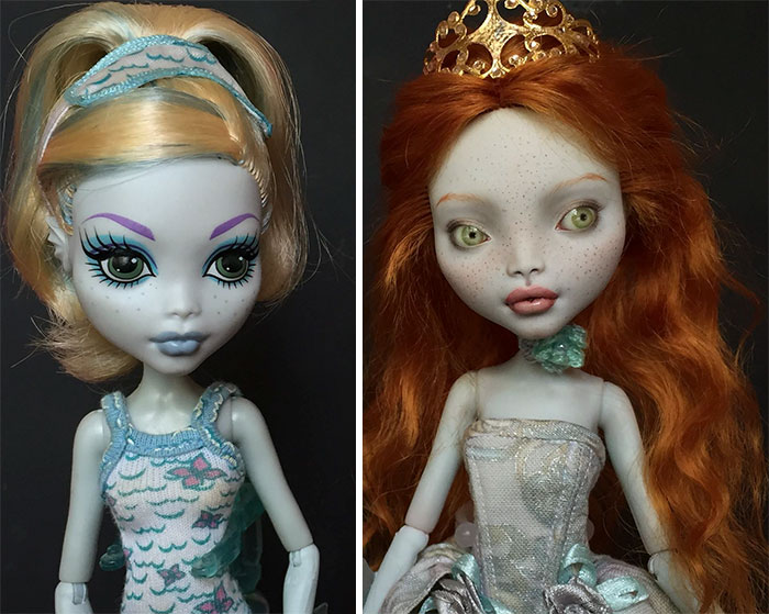 Muñeca antes y después de que les maquillen el rostro de una manera diferente