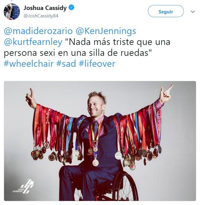 Comentario en twitter sobre personas que no son sexis en sillas de ruedas