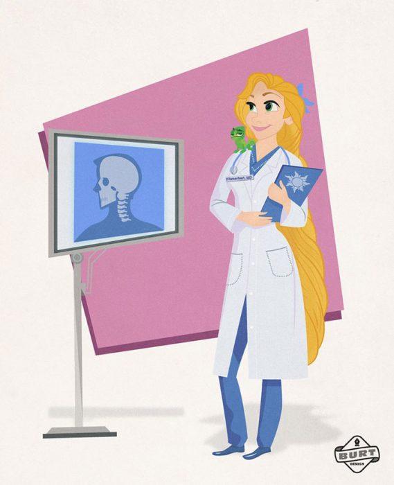 Ilustración de Rapuncel trabajando como doctora