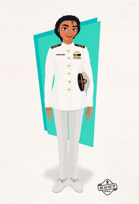 Ilustración de Moana trabajando como oficial naval