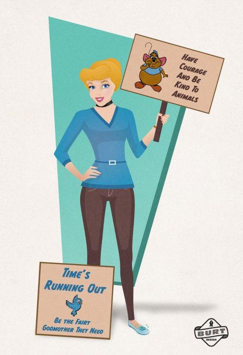 Ilustración de Cenicienta trabajando como activista de los derechos de los animales