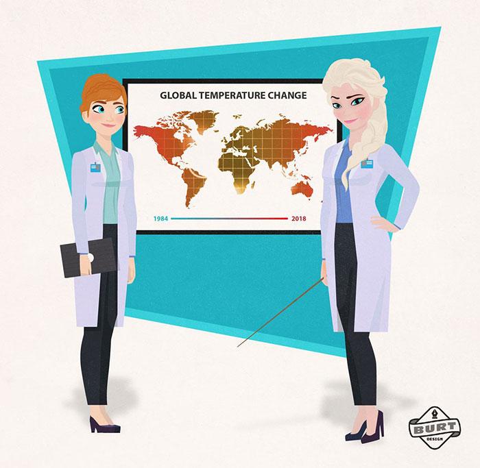 Ilustración de Ana y Elsa trabajando como científicas