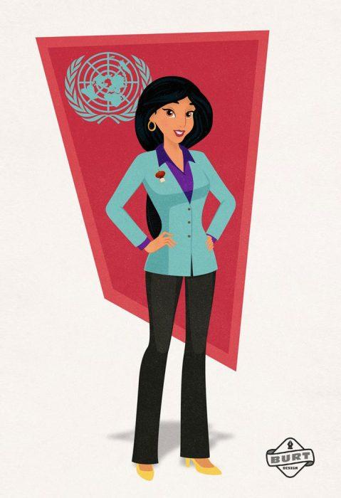 Ilustración de jazmine trabajando como representante de las naciones Unidas