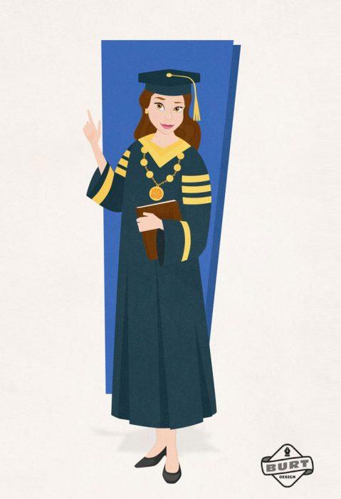Ilustración de Bella recibiendo su título universitario