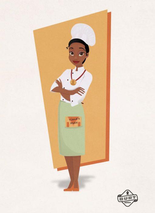 Ilustración de Tiana trabajandoc omo chef de cocina