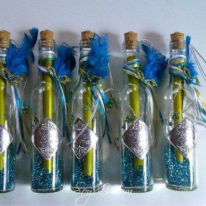 recordatorios de botellas con repujado