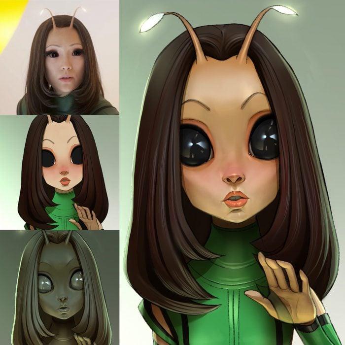 Mantis dibujado como una caricatura