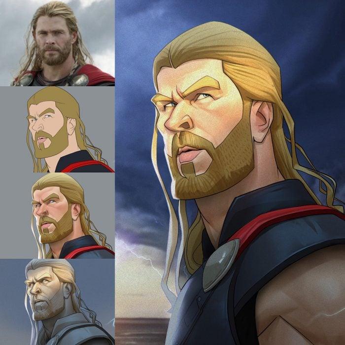 Thor dibujado como una caricatura