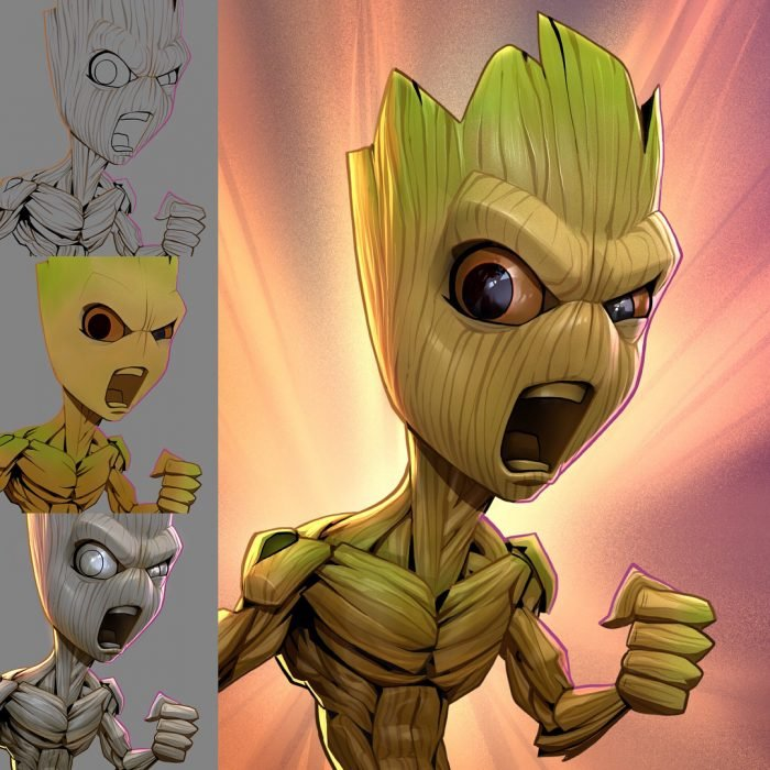 Groot dibujado como una caricatura