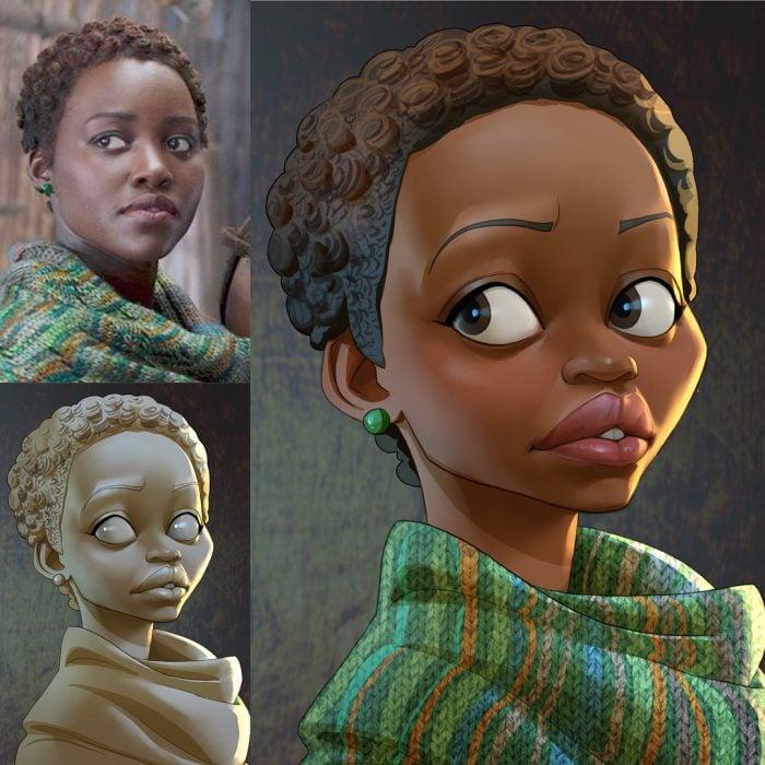 Novia de Black Panter dibujada como caricatura