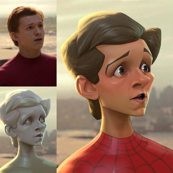 Spider Man dibujado como una caricatura