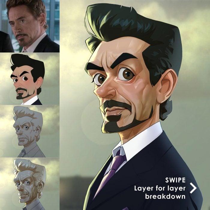 Tony Stark dibujado como una caricatura