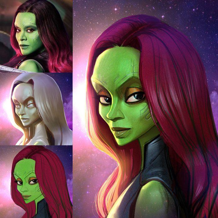 Gamora dibujado como una caricatura
