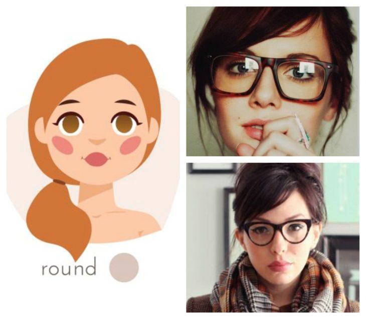 chicas con rostro redondo y gafas