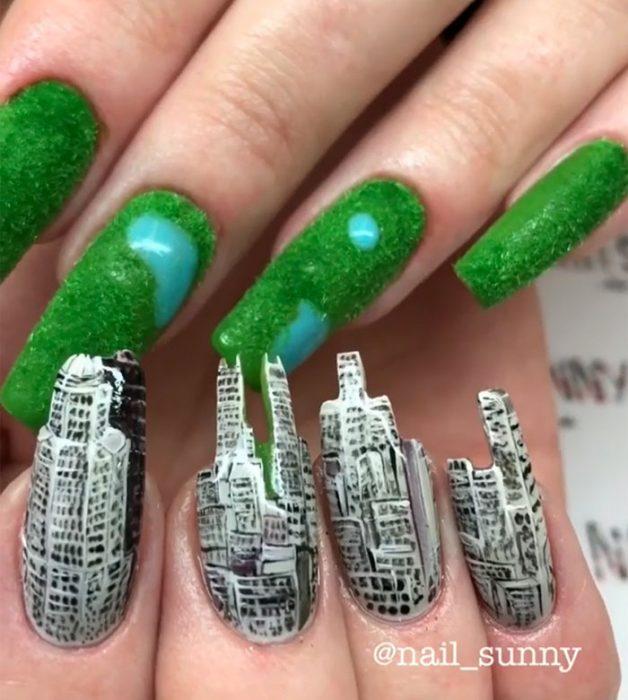 Uñas de una ciudad creadas por nail sunny