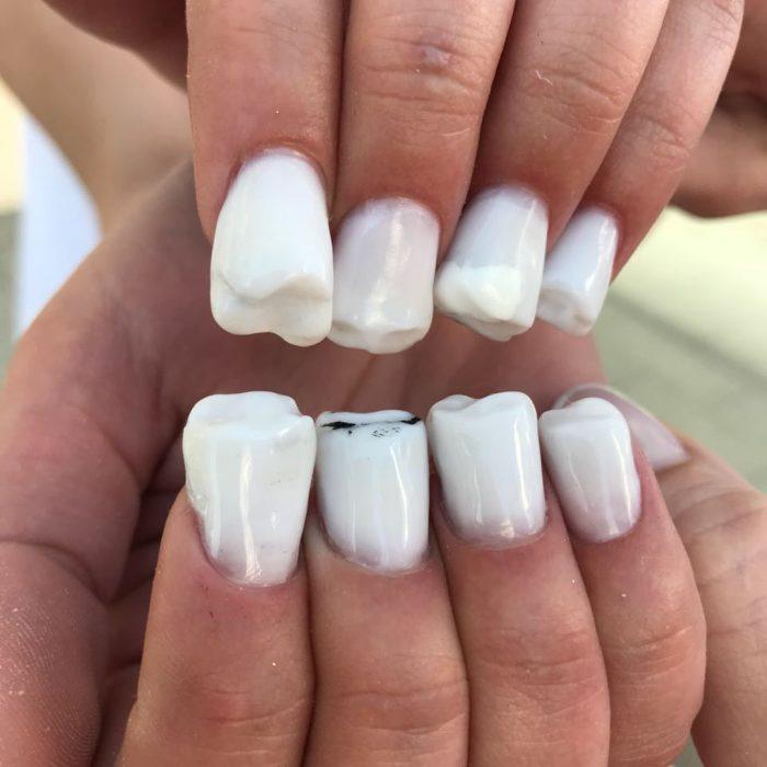 Uñas de muelas creadas por nail sunny como una tendencia
