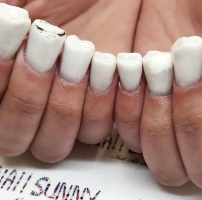 Uñas de dientes creadas por nail sunny