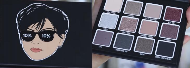 paleta de cosmeticos con rostro de mujer