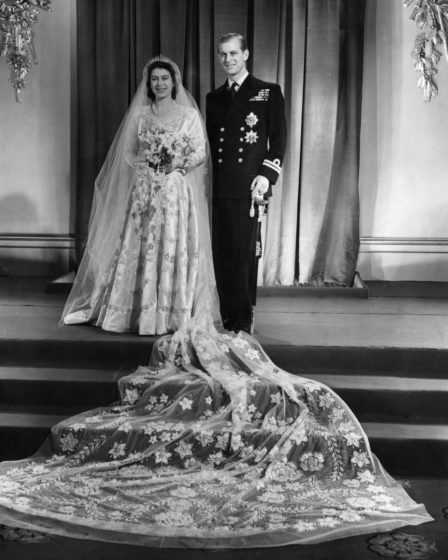 Reina Isabel y el rey el día de su boda