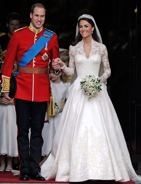 Kate Middleton y el príncipe William el día de su boda