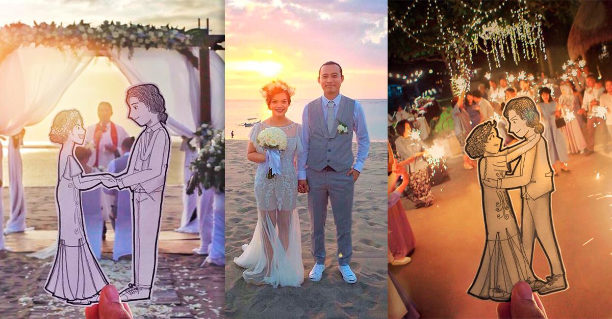 Cambió sus fotos de boda por dibujos animados de él y su novia, el resultado es adorable