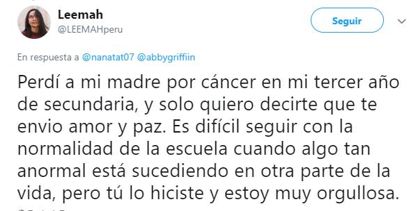 Comentario en twitter sobre la relación que una chica tenía con su madre que murió de cáncer