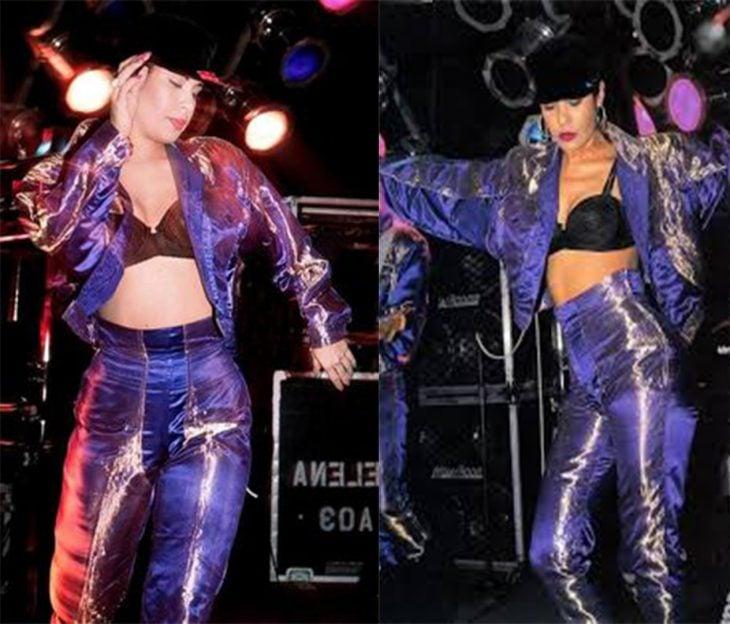 mujer con corp top y conjunto de tela color morado