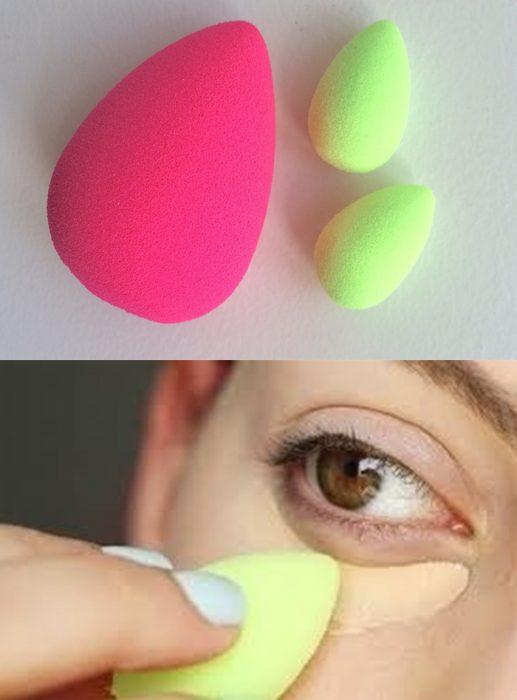 esponjas de maquillaje rosa y verde