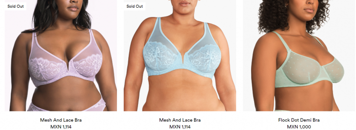 mujeres talla plus con brasiere color pastel