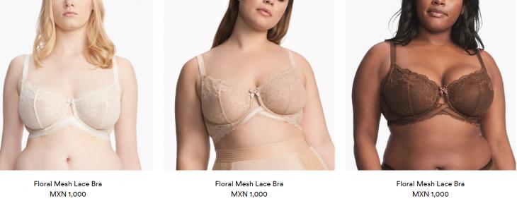 mujeres con brasiere nude en tres tonos de piel