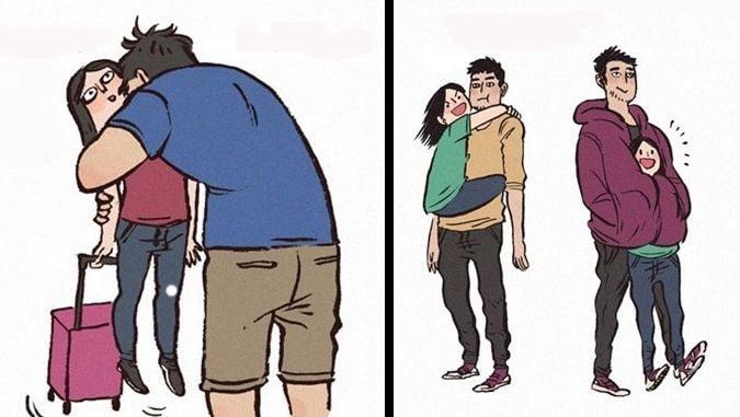 ilustración hombre alto abrazando a chica bajita