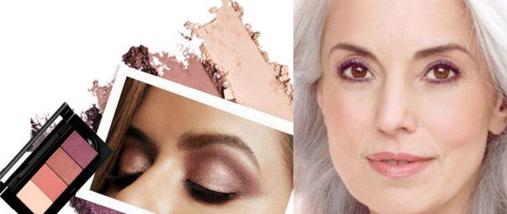 paleta de colores neutros sombras rosas mujer madura con maquillaje