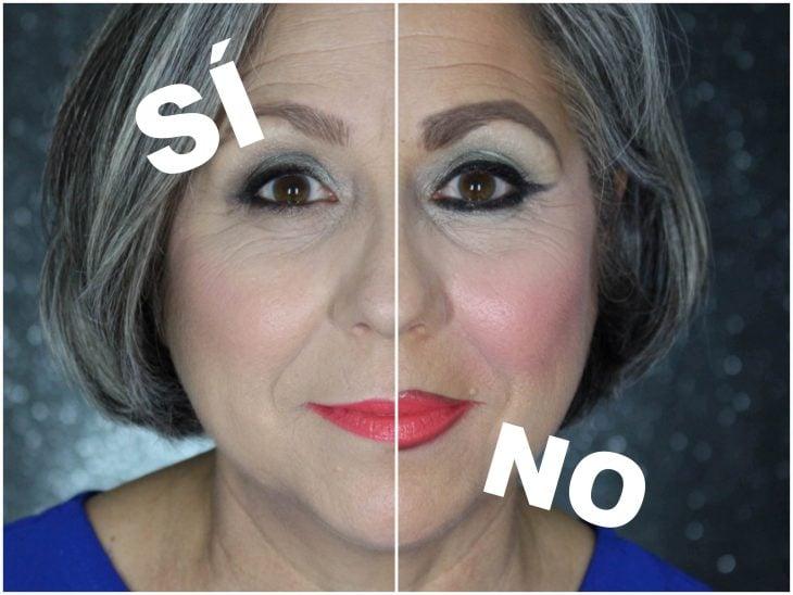 mujer maquillada con sí y no pieles maduras