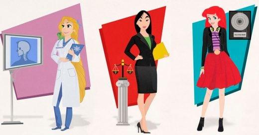Ilustrador le da un rol como profesionistas a las princesas de Disney