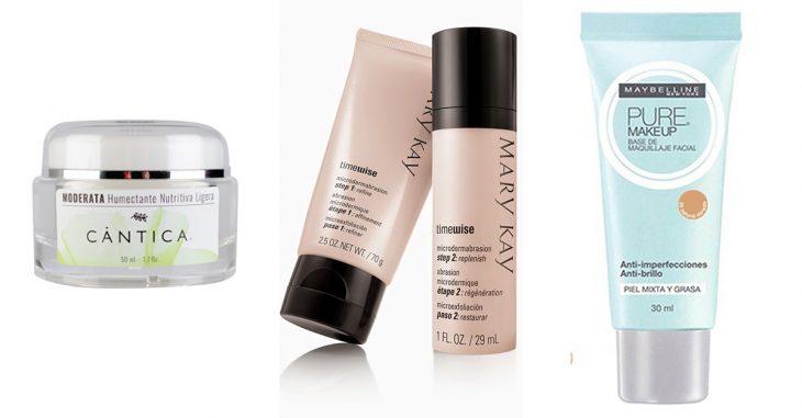 productos de belleza crema tapador de poros y base líquida