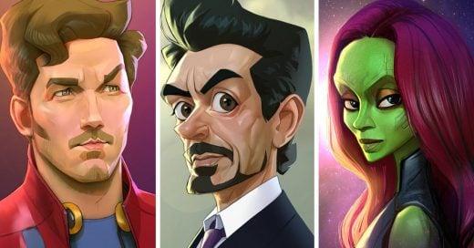 Así se verían los superhéroes como una caricatura