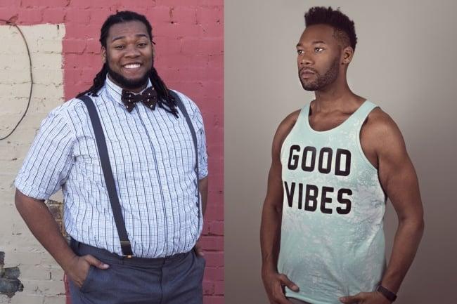 Hombre posando para una fotografía antes y después de bajar de peso