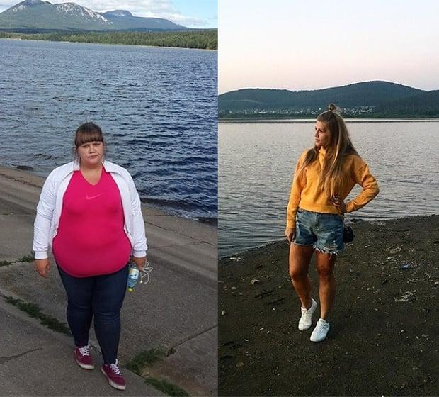 Mujer en la playa antes y después de bajar de peso