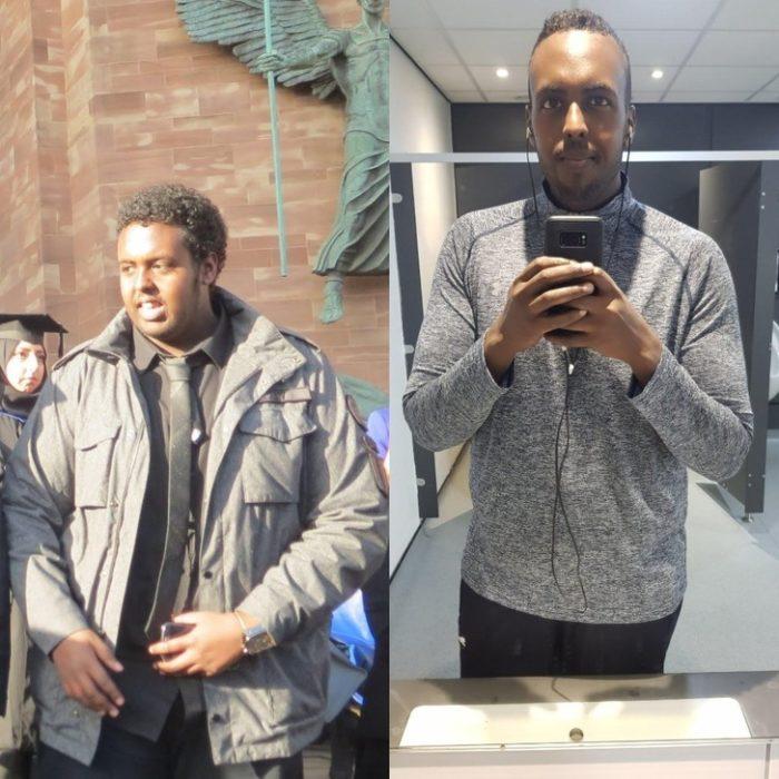 Hombre fuera de oficinas antes y después de bajar de peso