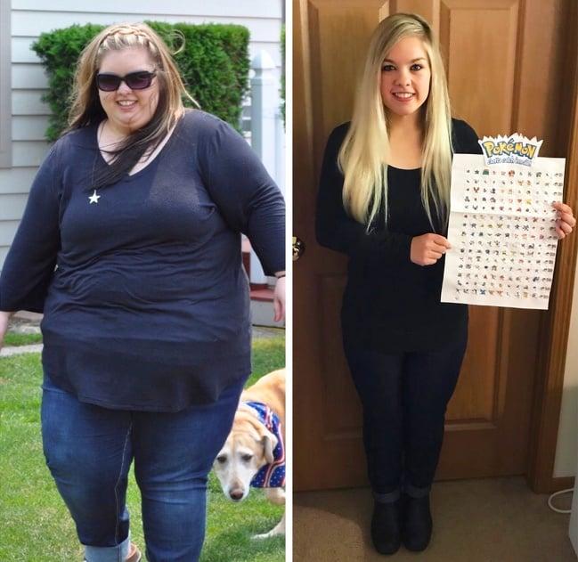 Mujer usando ropa oscura, modelando, antes y después de bajar de peso