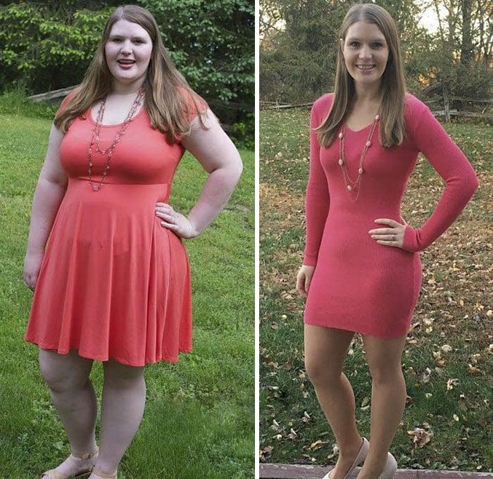 Mujer usando vestidos em color melón, antes y después de bajar de peso